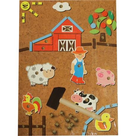 Drevená mozaika na pribíjanie - farma