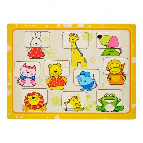 Drevené puzzle - Hľadanie tváričiek - Zvieratká