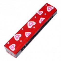 Ústna harmonika - červená so srdiečkami