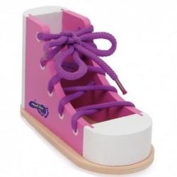 Drevená topánka so šnúrkou na zaväzovanie - ružová