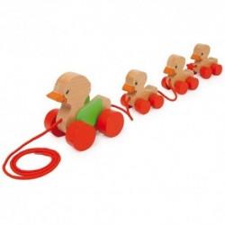 Drevená hračka na ťahanie - Kačacia rodinka