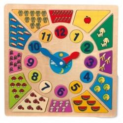 Drevené puzzle - Hodiny farebné