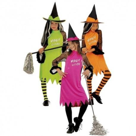 Detský karnevalový kostým - Bosorka - ružová neónová farba