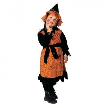 Detský karnevalový kostým - Bosorka - oranžovo-čierna farba