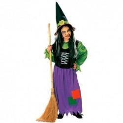Detský karnevalový kostým - Bosorka - zeleno-fialová