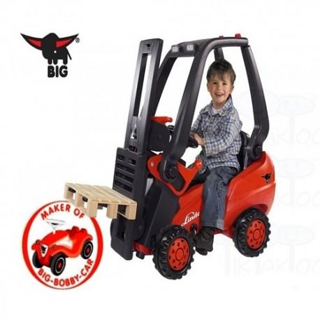 BIG Detský šliapací vysokozdvižný vozík s paletou červeno-čierny