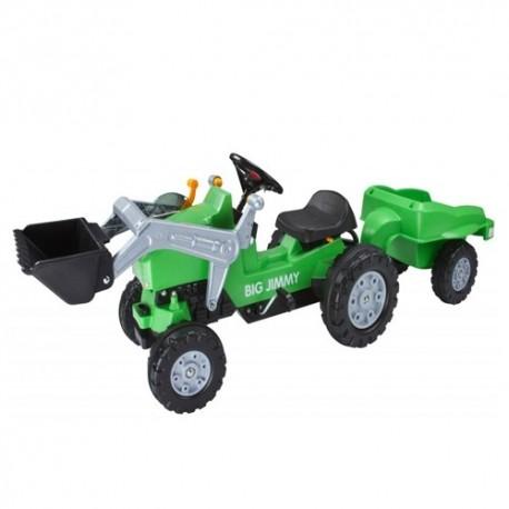 BIG Detský šliapací traktor Jimmy s nakladačom a vlečkou zelený