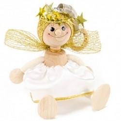 Drevená figúrka na pružinke - Anjelik biely