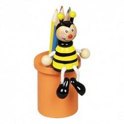 Drevený stojan na ceruzky s farbičkami - včielka