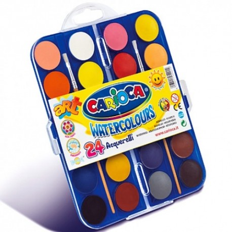 Carioca vodové farby - 24 farieb s Ø 30 mm