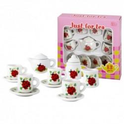 Detská porcelánová čajová súprava - biela s lienkami