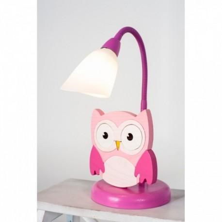 Detská stolná lampa - sova ružová