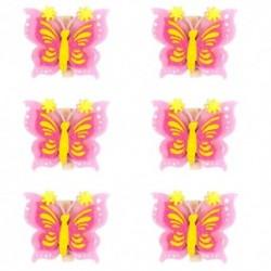 Drevené ozdobné štipce 6ks - motýliky ružové