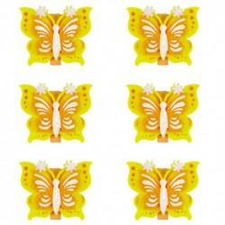 Drevené ozdobné štipce 6ks - motýliky žlté