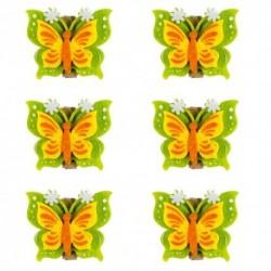Drevené ozdobné štipce 6ks - motýliky zelené