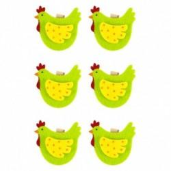 Drevené ozdobné štipce 6ks - sliepočky zelené
