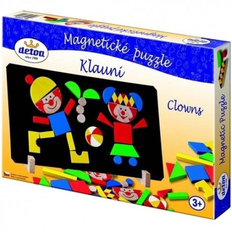 DETOA Drevené magnetické puzzle Klauni
