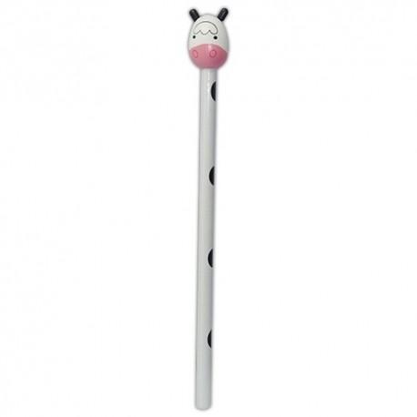 Drevená ceruzka so zvieracou hlavou - Kravička