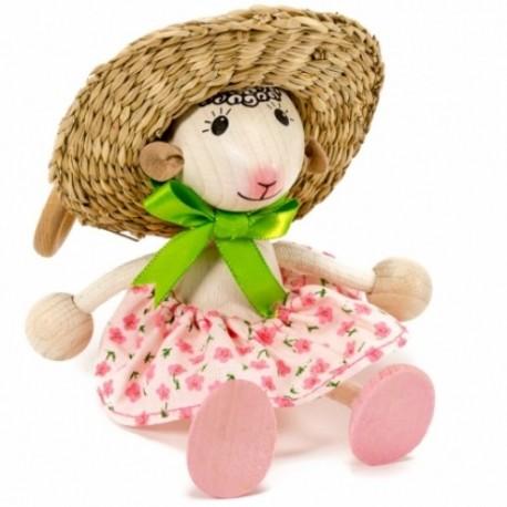 Drevená figúrka na pružinke - Ovečka v klobúku
