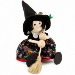 Drevená figúrka na pružinke - Bosorka s čiernym klobúkom I.