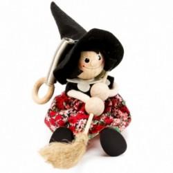 Drevená figúrka na pružinke - Bosorka s čiernym klobúkom II.