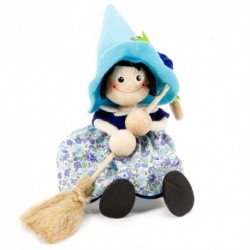 Drevená figúrka na pružinke - Bosorka s modrým klobúkom