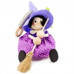 Drevená figúrka na pružinke - Bosorka s fialovým klobúkom
