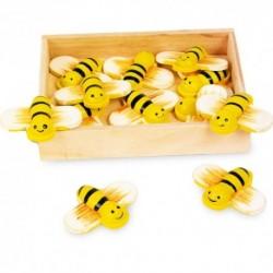 Drevené dekorácie v krabičke - včielky