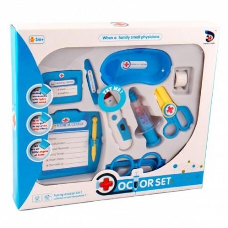 MK TOYS Detský lekársky set s teplomerom - modrý