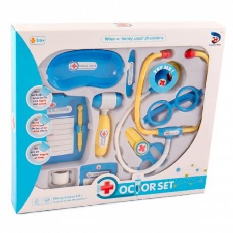 MK TOYS Detský lekársky set so stetoskopom - modrý