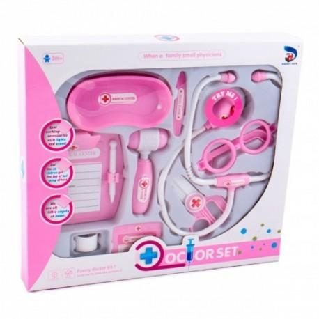 MK TOYS Detský lekársky set so stetoskopom - ružový