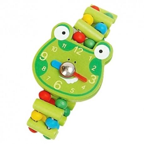 Detské drevené hodinky - žabka