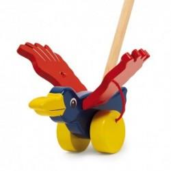 Drevená hračka na tlačenie - Vták farebný