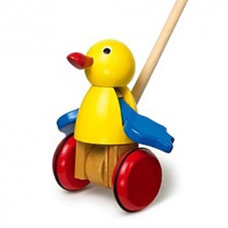 Legler Drevená hračka na tlačenie - Vták žltý