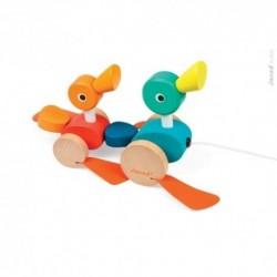 JANOD detská drevená kačacia rodinka na ťahanie Pull Along