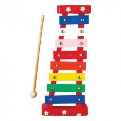 Detský farebný xylofón - červený s kvietkami