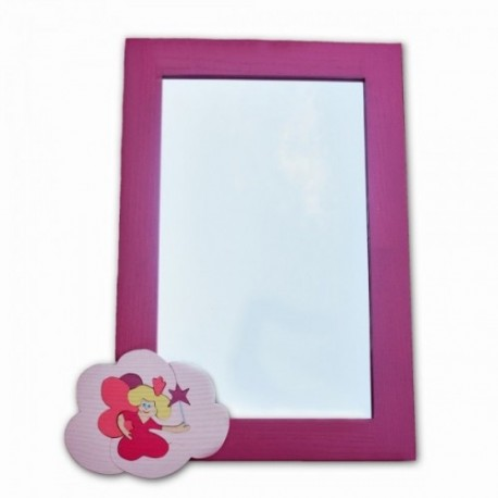 Detské zrkadlo s drevenou dekoráciou - ružové Pink
