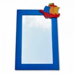Detské zrkadlo s drevenou dekoráciou - modré