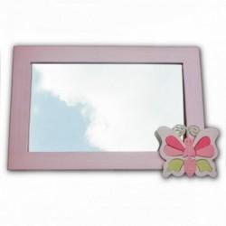 Detské zrkadlo s drevenou dekoráciou - bledo-ružové
