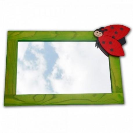 Detské zrkadlo s drevenou dekoráciou - zelené
