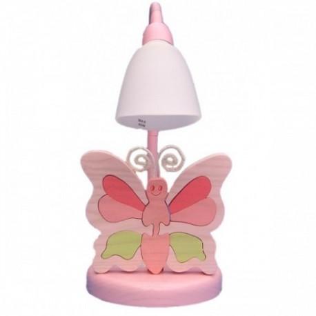 Detská stolná lampa - motýľ ružový