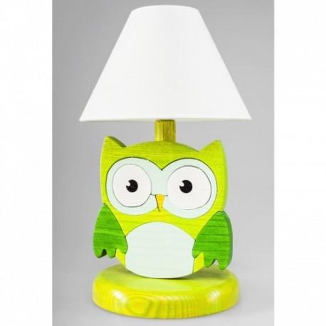 Detská nočná lampa - sova zelená