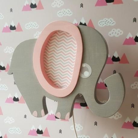 Detské nástenné svietidlo - sloník ružový