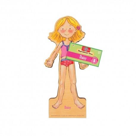 Magnetická drevená bábika na obliekanie - Daisy