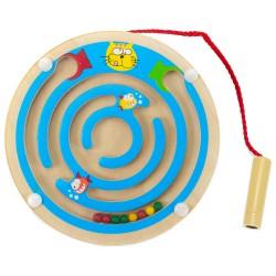 Drevený magnetický labyrint kruhový - modrý