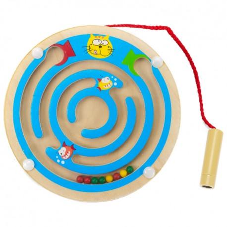 Viga Drevený magnetický labyrint kruhový - modrý