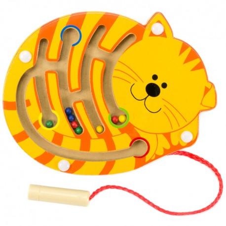 VIGA Drevený magnetický labyrint malý - Mačička