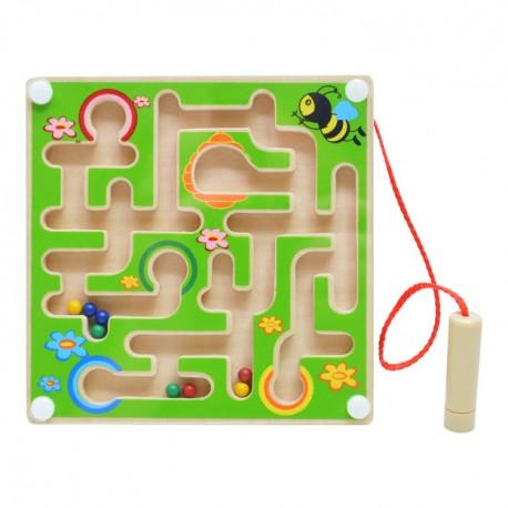 Drevený magnetický labyrint štvorcový - zelený