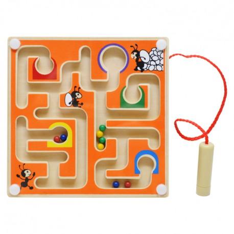 Drevený magnetický labyrint štvorcový - oranžový