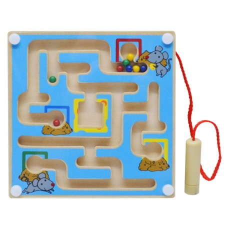 Drevený magnetický labyrint štvorcový - modrý